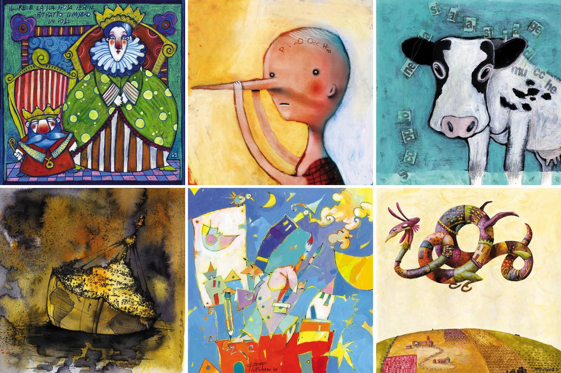 Sei illustrazioni tratte dal Calendario Duemila7 di Tapirulan gli autori delle illustrazioni sono, da sinistra, in senso orario: Sabrina Inzaghi, Giovanni Nori, Manuela Saccani, Elisa Vignali, Fabio De Donno, Fogliazza