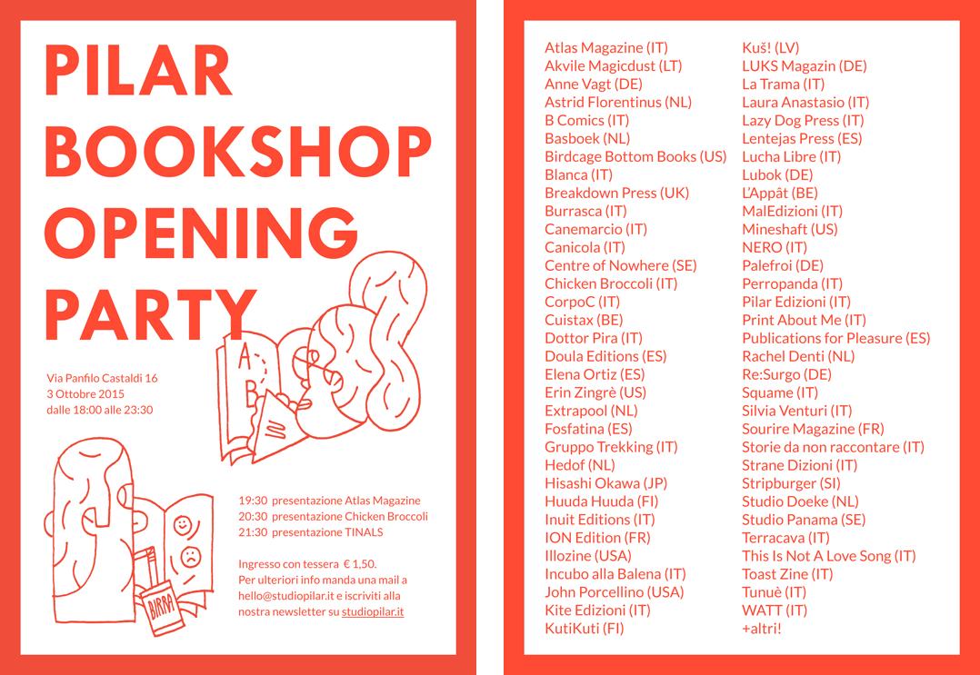 L'inaugurazione di Pilar Bookshop si terrà sabato 3 ottobre 2015, dalle 18,30 in poi
