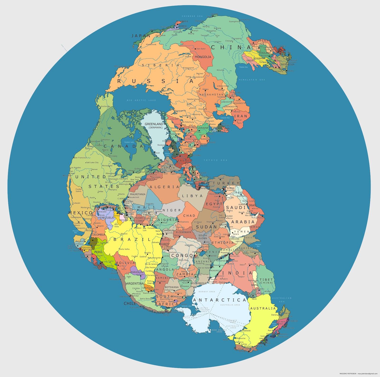 La mappa del supercontinente Pangea con i confini politici degli stati odierni (via Brilliant Maps)