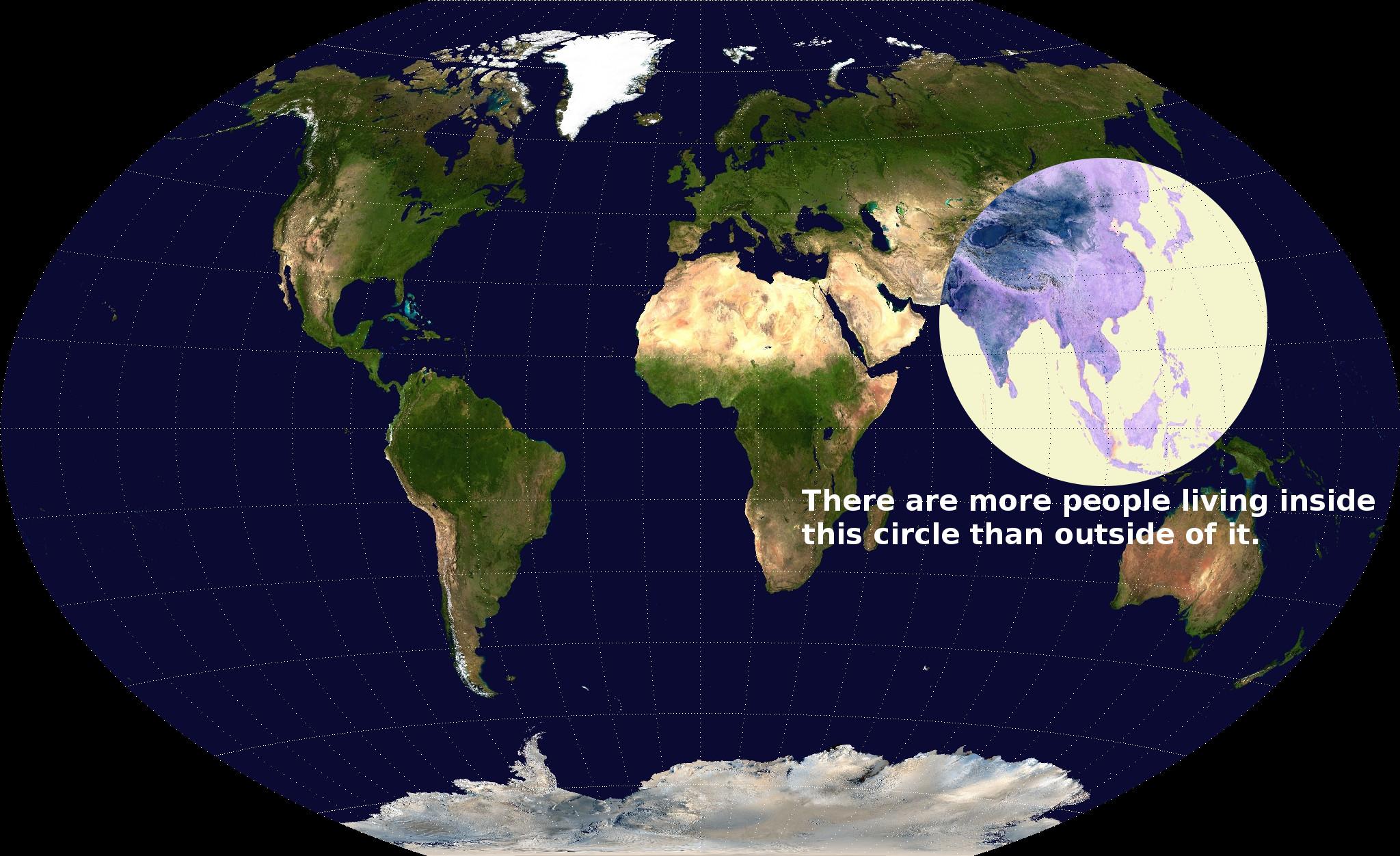 La popolazione mondiale che abita all'interno del cerchio e maggiore di quella che sta fuori. Tra l'altro, sempre nel cerchio, c'è la montagna più alta del mondo (Everest), la fossa oceanica più profonda (Fossa delle Marianne) (via Brilliant Maps)