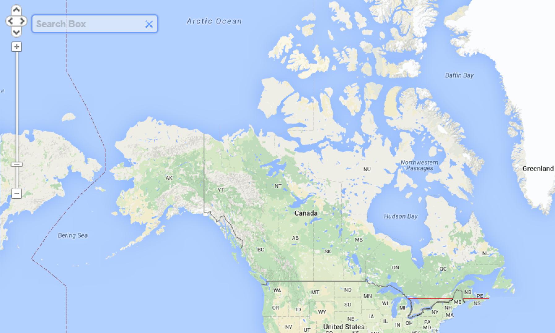 I canadesi che abitano sotto alla linea rossa sono di più di quelli che abitano sopra (via Brilliant Maps)