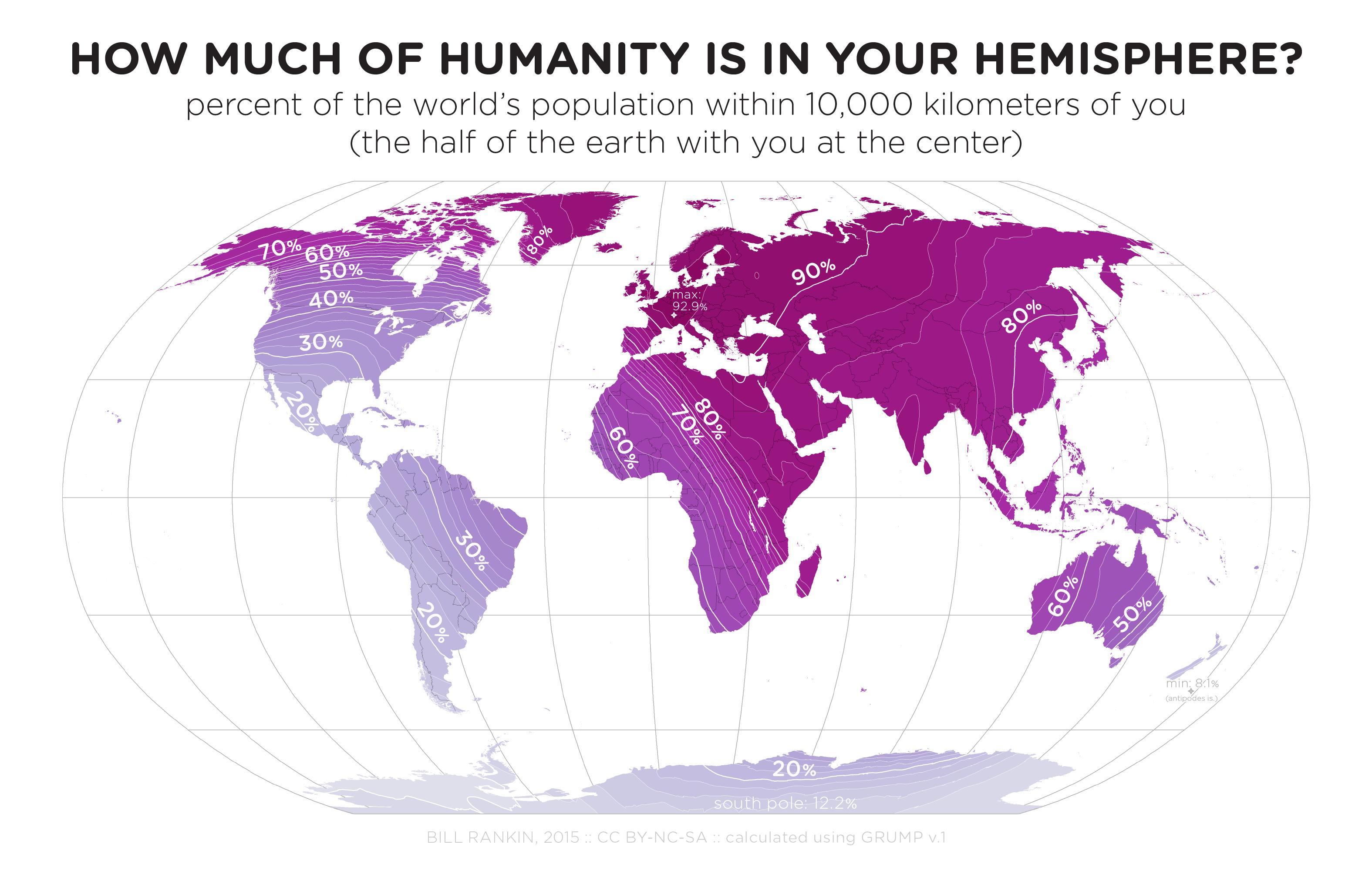 Che percentuale dell'intera popolazione terrestre vive entro un raggio di 10.000km da te? (via Brilliant Maps)