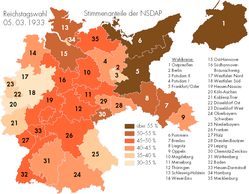 Quali regioni tedesche hanno votato di più per i Nazisti nel 1933? (via Brilliant Maps)