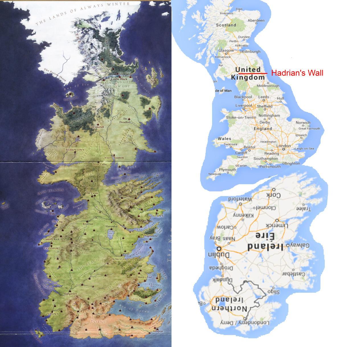 """Westeros, il continente occidentale di """"Game of Thrones"""", paragonato a Regno Unito + Irlanda rovesciata e appiccicata sotto (via Brilliant Maps)"""
