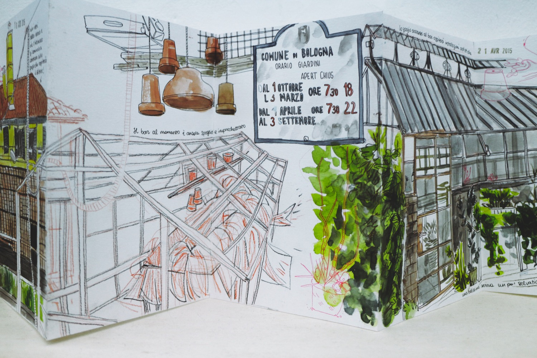 """Sara Menetti, dalla mostra """"Diari di viaggio: Storie di città illustrate"""" (foto: Simone e Sveva Sbarbati per Frizzifrizzi)"""