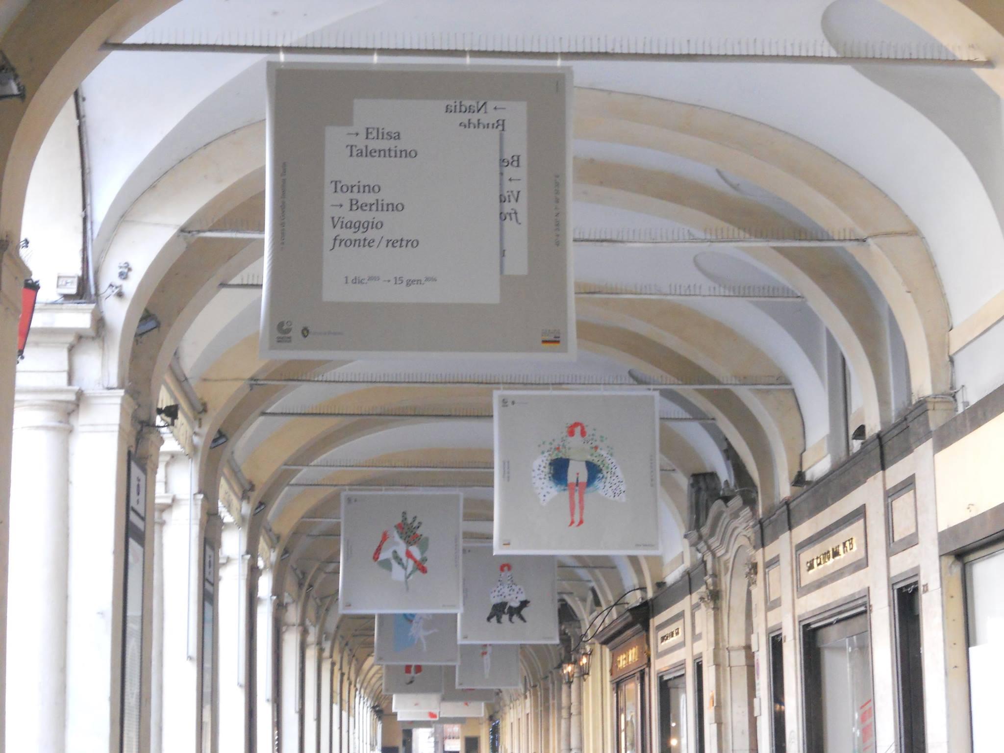 le opere di Elisa sotto i portici di Torino