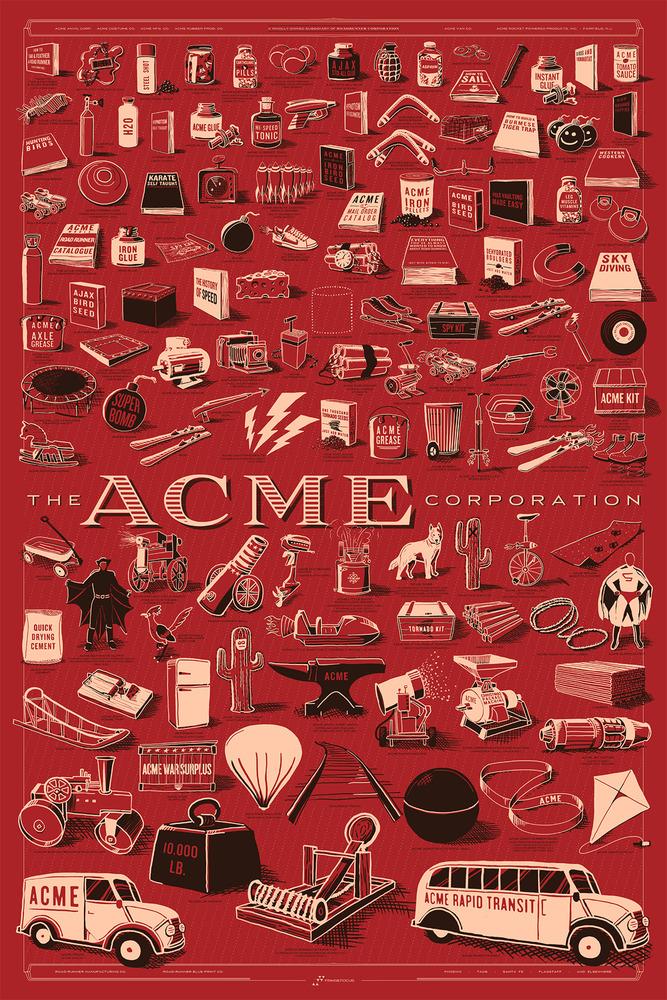 La prima stampa dedicata da Rob Loukotka ai prodotti della ACME, realizzata nel 2012