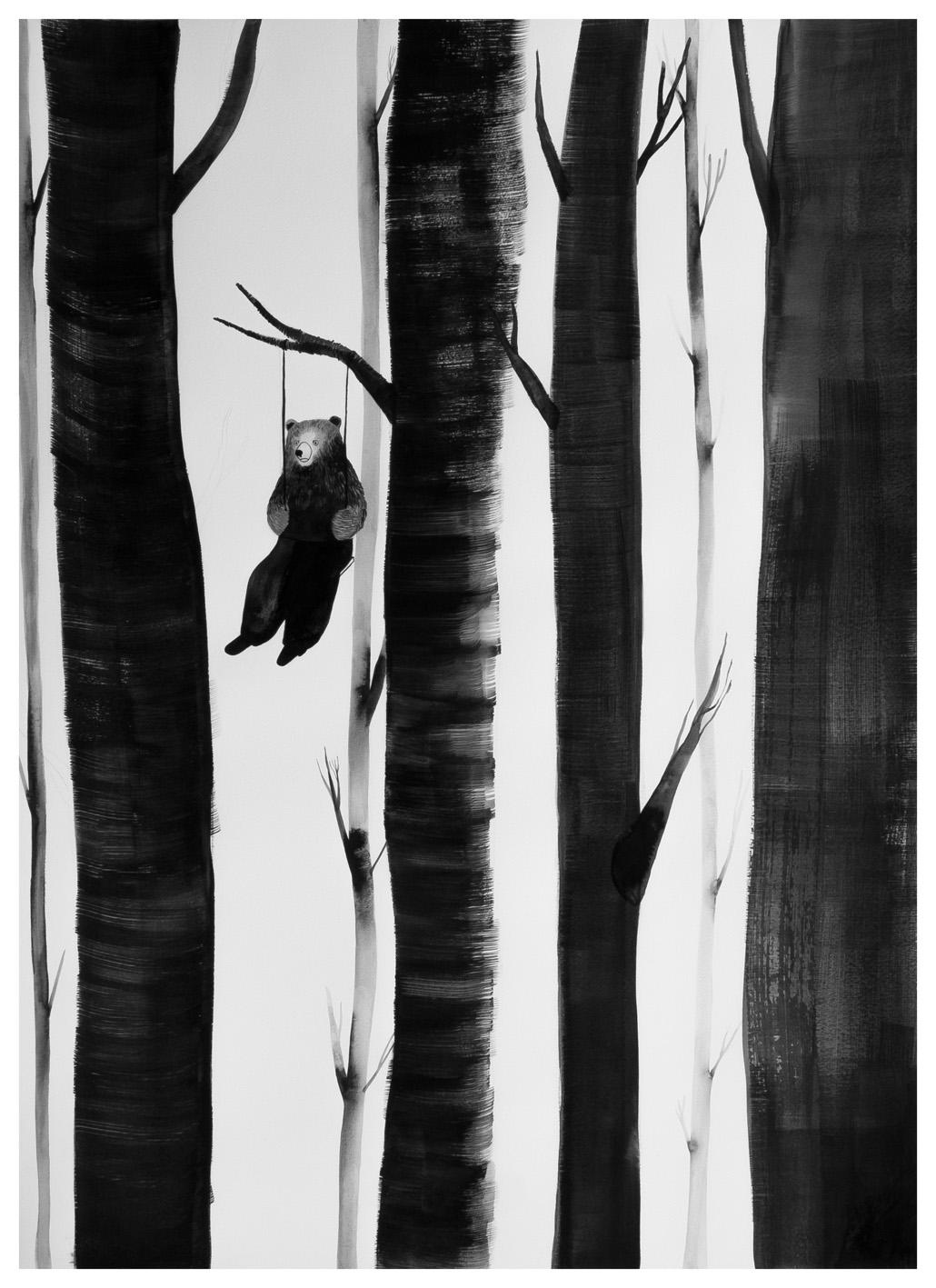 """Chiara Dattola, """"Altalena"""", inchiostro su carta, 2015"""