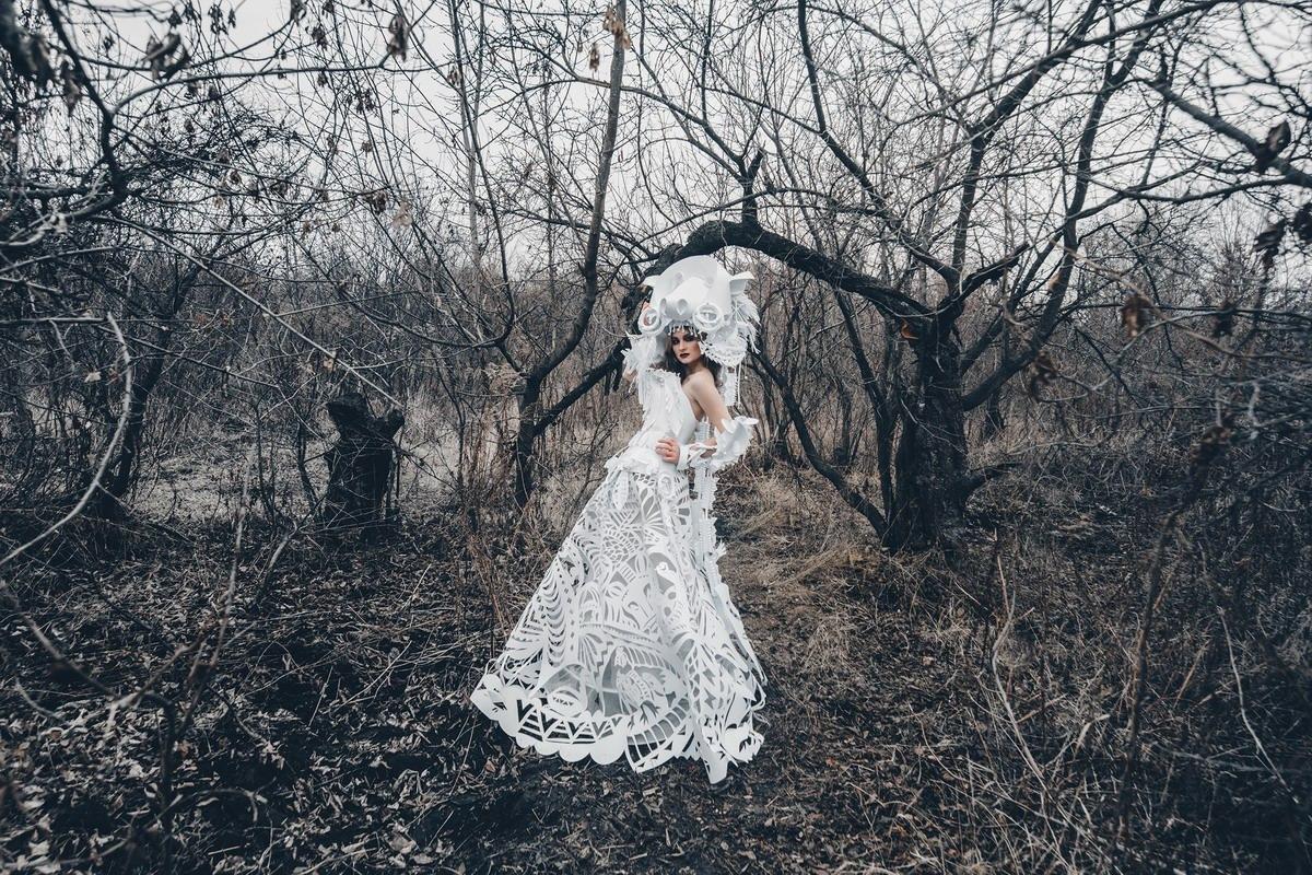 """""""Paper shaman"""" paper art: Asya Kozina, Dmitriy Kozin photographer: Yana Krutko makeup, hair: Olesya Kobzar model: Mari Kulikova"""