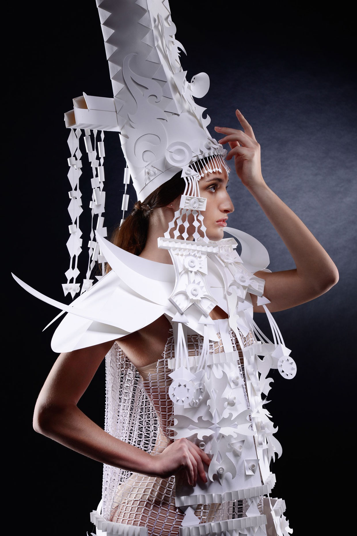 """Paper mongolian costumes"" paper artist: Asya Kozina photographer: Anastasia Andreeva makeup: Marina Sysolyatina model: Lily Abdurasulova, Olga Komarova, Pauline Krasavina"