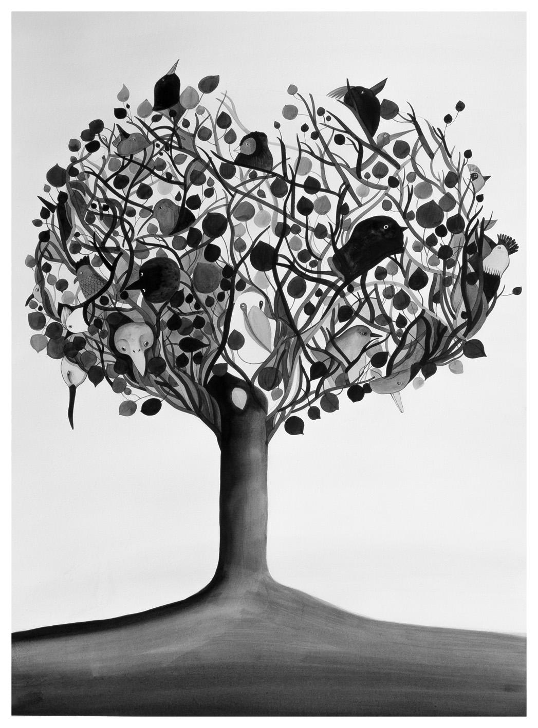"""Chiara Dattola, """"Tutti insieme"""", inchiostro su carta, 2015"""