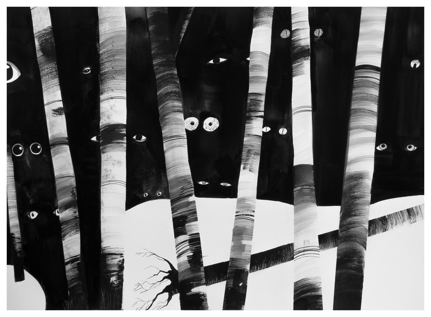 """Chiara Dattola, """"Nell'oscurità"""", inchiostro su carta, 2015"""