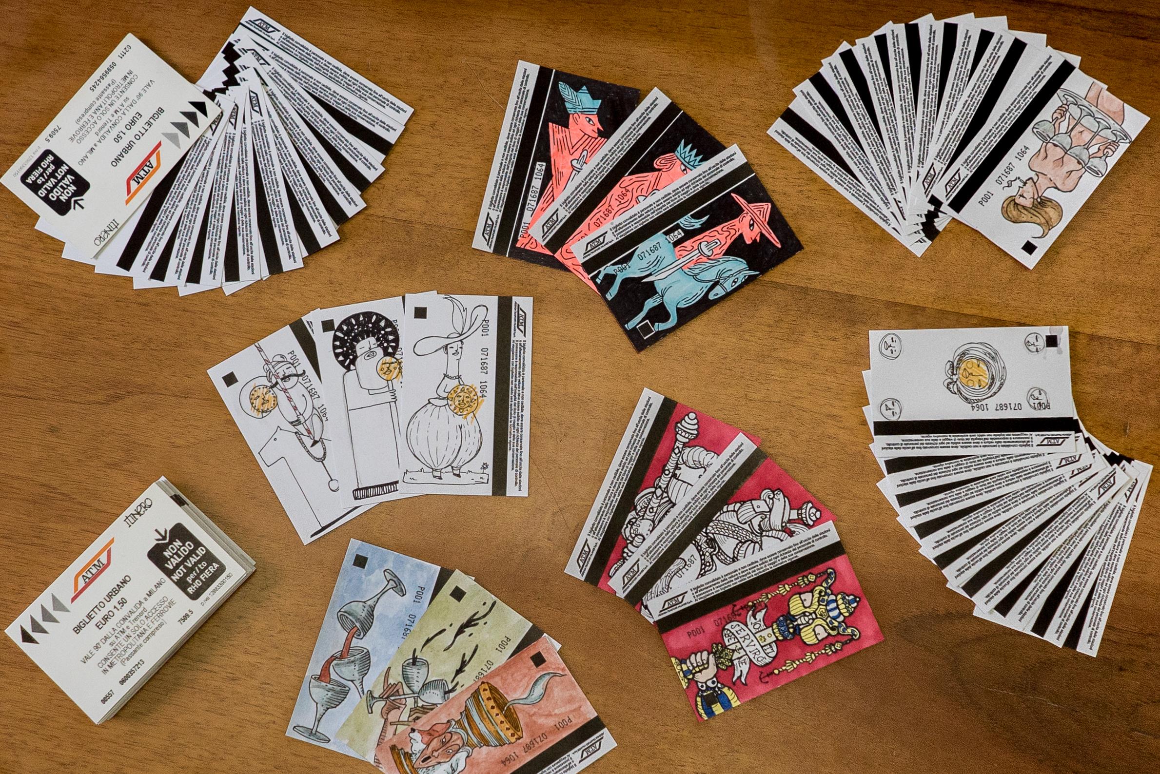Le carte da gioco illustrate (sui biglietti dell'ATM)