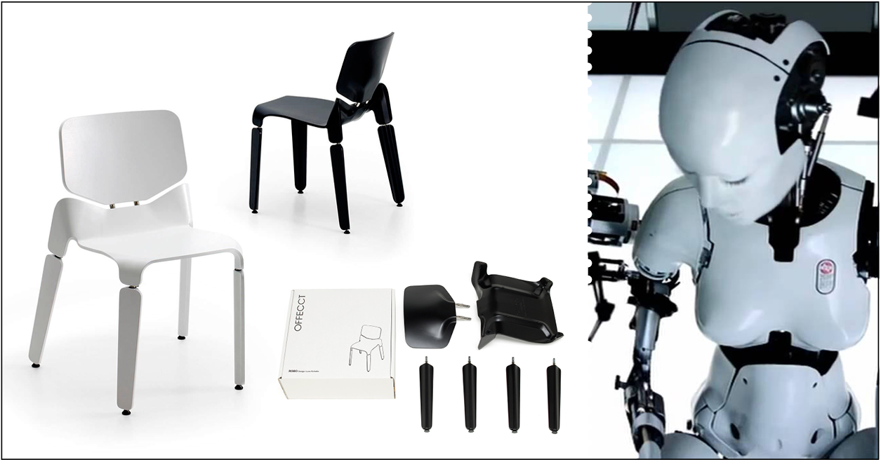 """Luca Nichetto, sedia Robo, prodotta da Offecct, 2012. Per la progettazione di questa sedia Nichetto ha preso ispirazione dal video di """"All is Full of Love"""" di Björk. I punti di riferimento dei post-maestri sono decisamente cambiati rispetto ai vecchi Maestri!"""