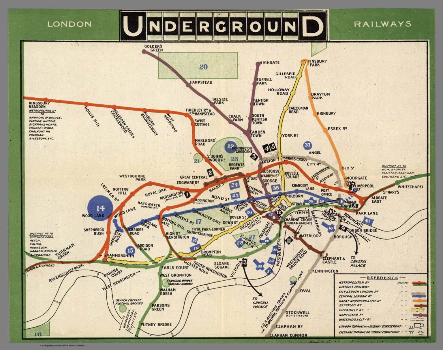 London Underground Railways, 1909 (com'era la mappa della metropolitana londinese a inizio '900) autore ed editore: London Underground Railways (UK)