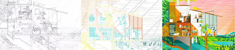 le varie fasi della lavorazione dell'illustrazione © Ben The Illustrator