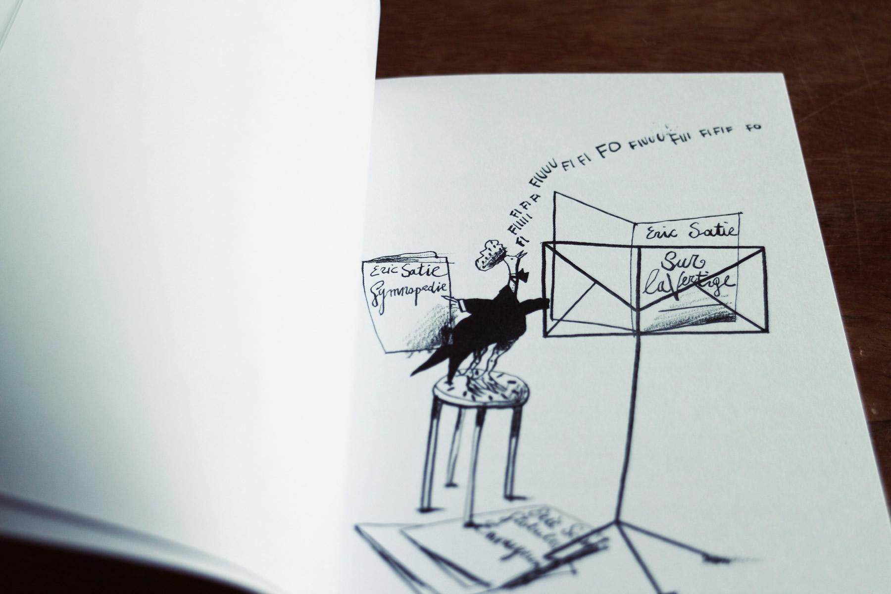 Satie: appunti e nostalgie, di Gian Nicola Vessia, illustrazione di Federico Maggioni, Raum Italic 2015 (foto: Frizzifrizzi)