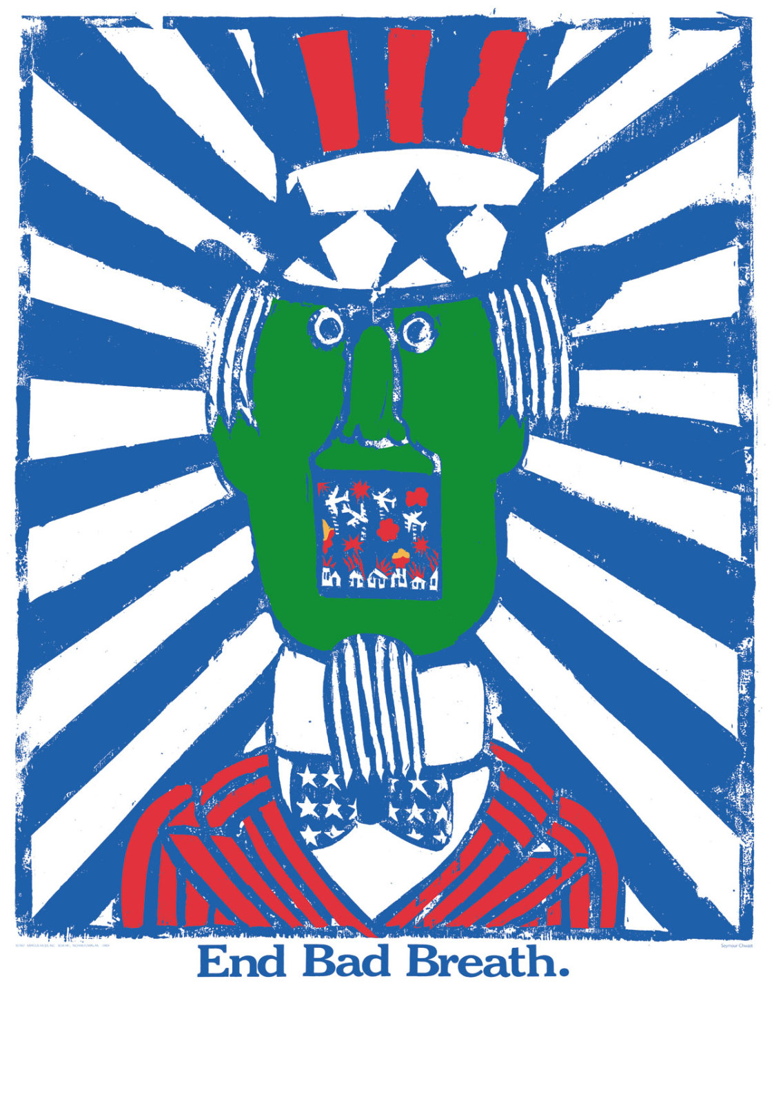 """""""End bad breath"""", Seymour Chwast, 1968"""