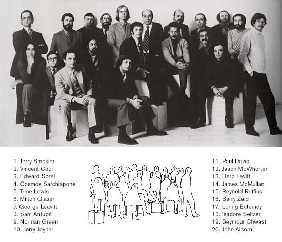 una foto di gruppo dei Push Pin Studios, risalente al 1970 circa, che comprende anche i membri usciti dall'agenzia per diventare freelance o aprire a loro volta altri studi creativi (via pushpininc.com)