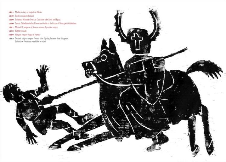 "Seymour Chwast, ""At war with war"", cavalieri teutonici invadono la Prussia"