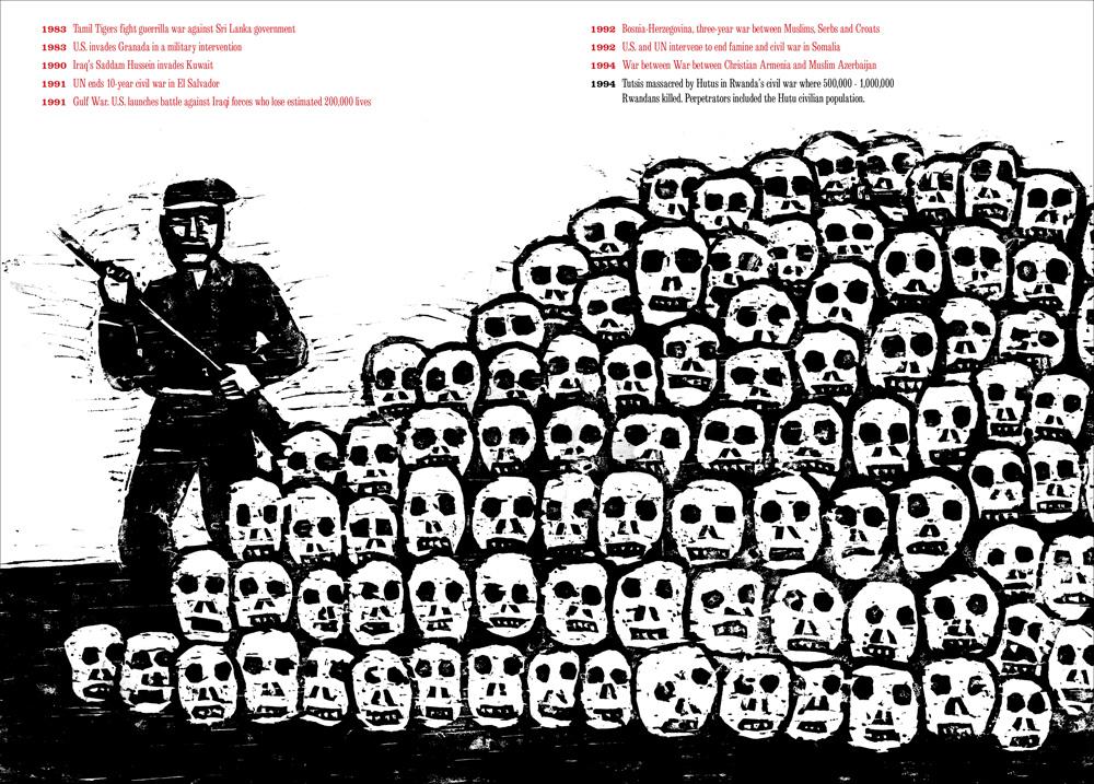 "Seymour Chwast, ""At war with war"", la Guerra Civile in Rwanda"