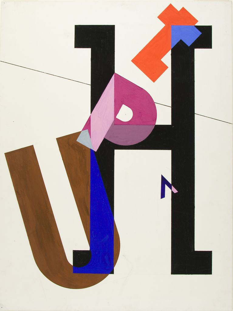 "M. Grodman, ""Arrangement of colored letters"" (Harvard Art Museums/Busch-Reisinger Museum, Gift of Robert J. Wolff)"