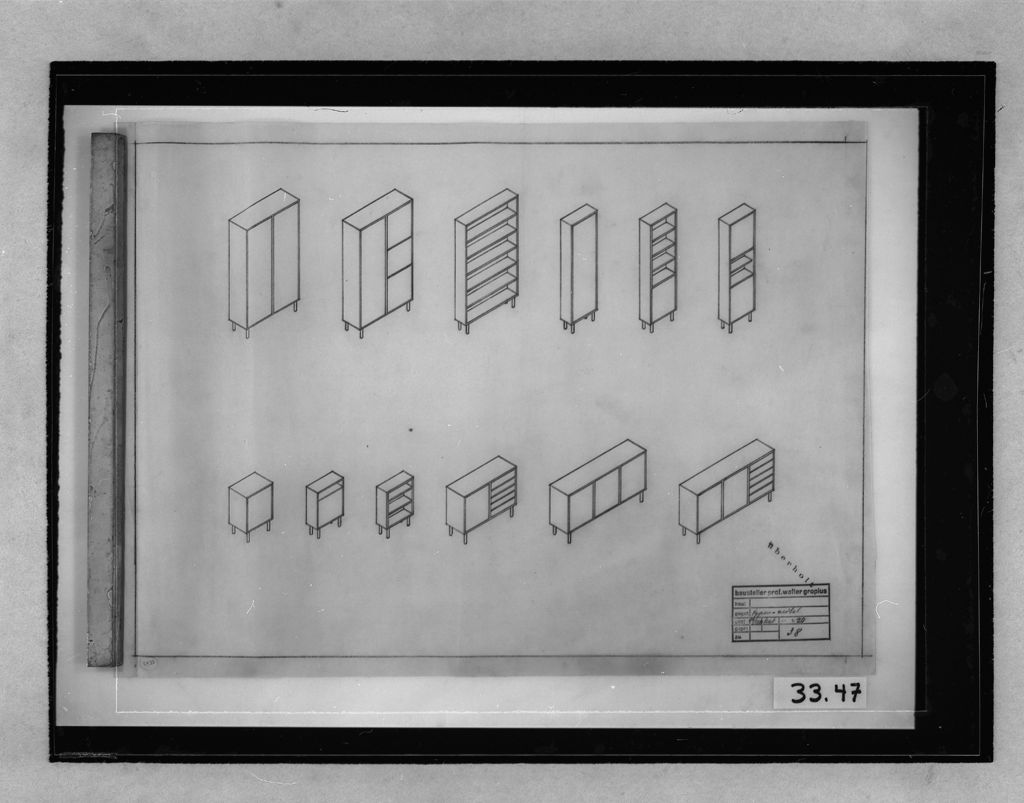 "Walter Gropius, ""Furniture Designs, 1929-1932: Various furniture types: isometrics (cancelled) 1:20"", 1929-1932 (Harvard Art Museums/Busch-Reisinger Museum, Gift of Walter Gropius)"
