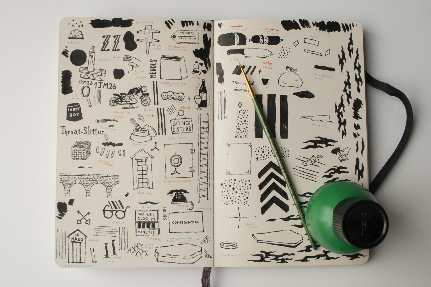 """Lo sketchbook con i bozzetti per il pattern di """"Grand Budapest Hotel"""" (© Dan Lehman)"""