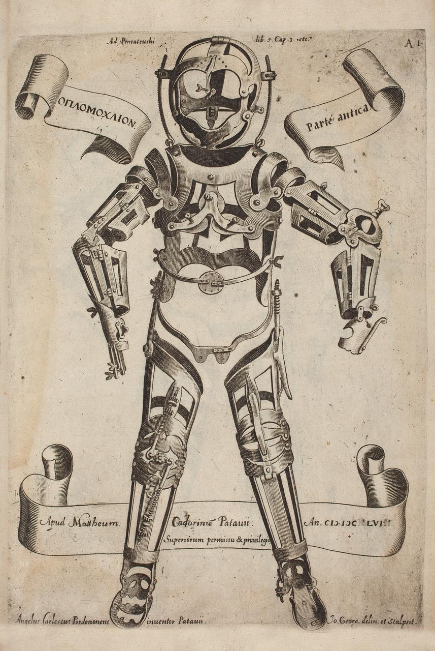 """Corazza (attrezzo ortopedico). Tavolta tratta da """"Opera Chirurgica"""", di Girolamo Fabrici d'Acquapendente (1533–1619)"""
