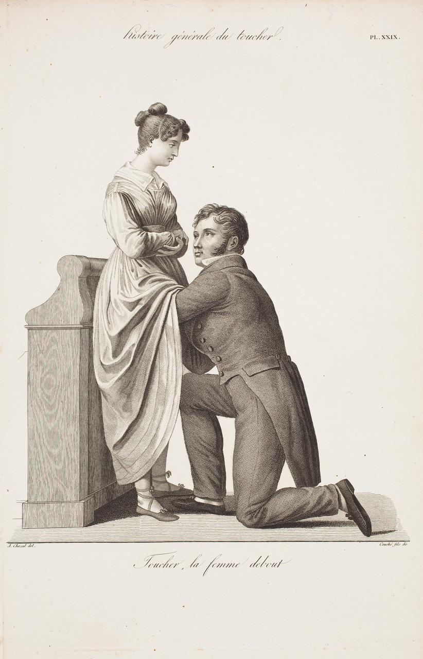 """Esame ostetrico. Tavola tratta da """"Nouvelles démonstrations d'accouchemens"""", di Jacques Pierre Maygrier (1771-1835)"""