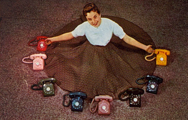 A telephone for every mood (courtesy Bad Postcards)