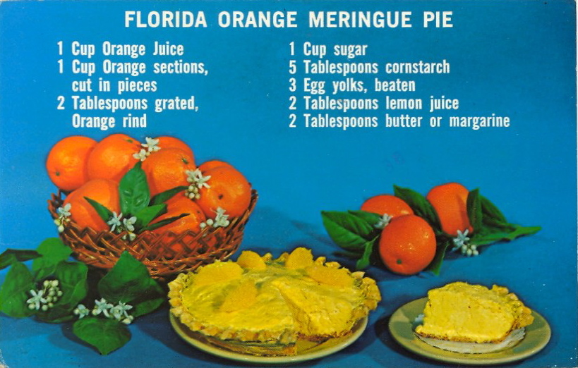 "La ricetta della ""Florida orange meringue pie"" (courtesy Bad Postcards)"