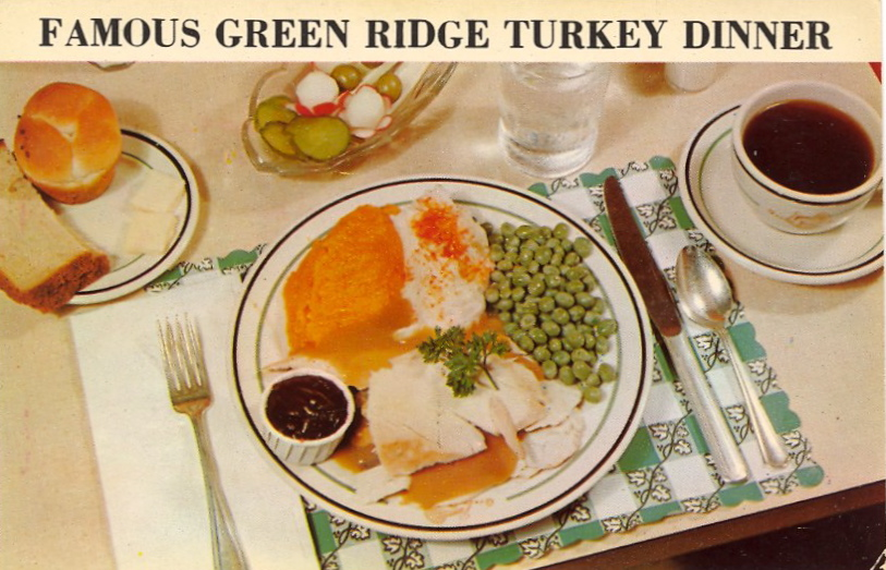 Famous Green Ridge turkey dinner (courtesy Bad Postcards)