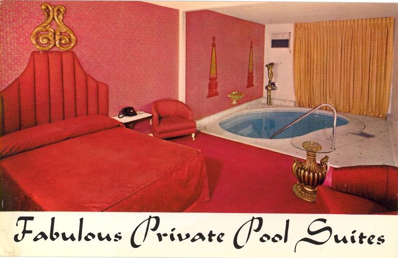 Fabulous private pool suites, Las Vegas, Nevada (courtesy Bad Postcards)