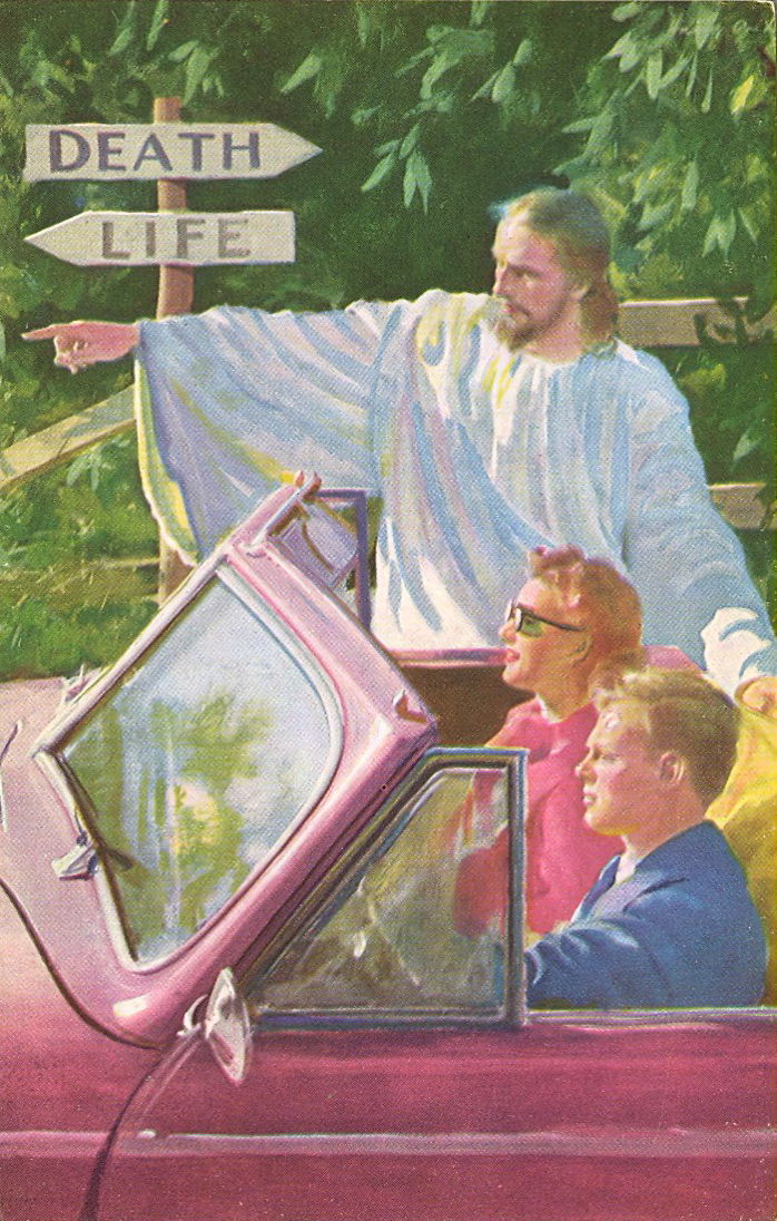 Jesus gives directions (courtesy Bad Postcards)
