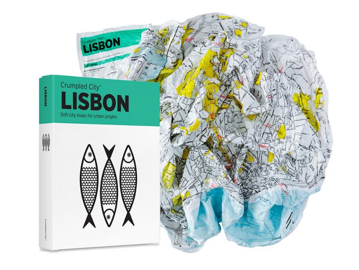 crumbled city map lisbon
