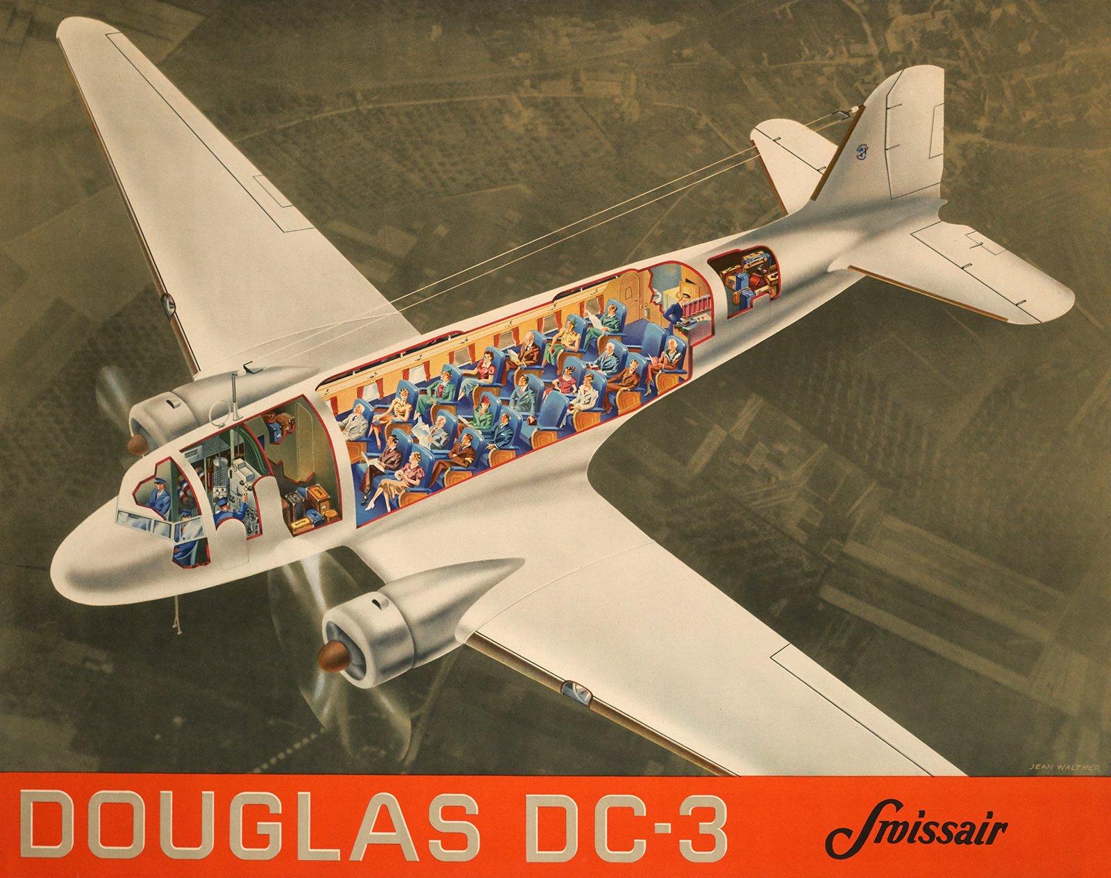 swissair douglas dc 3 30899 suisse affiche