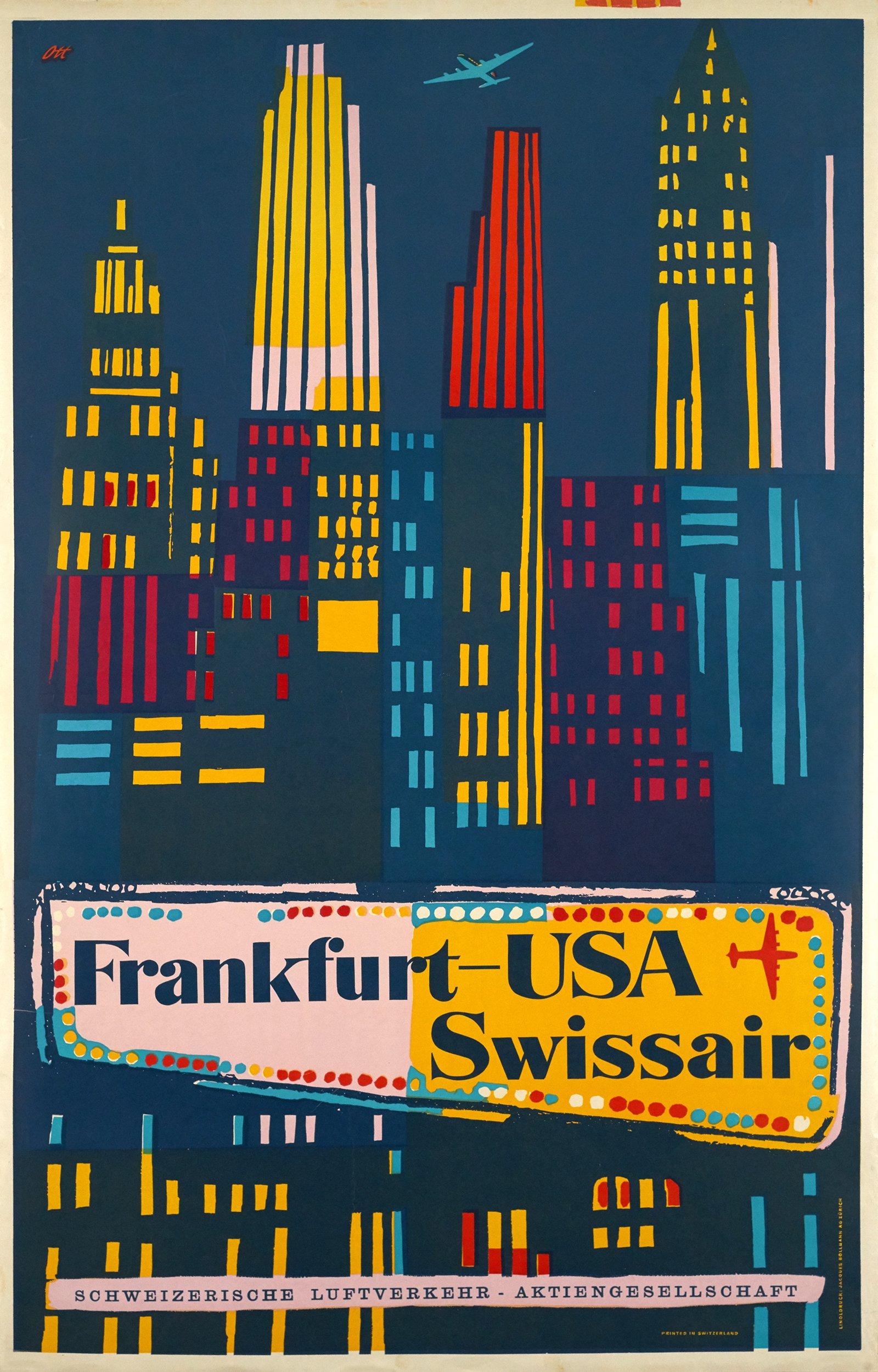 swissair frankfurt usa 31500 allemagne affiche