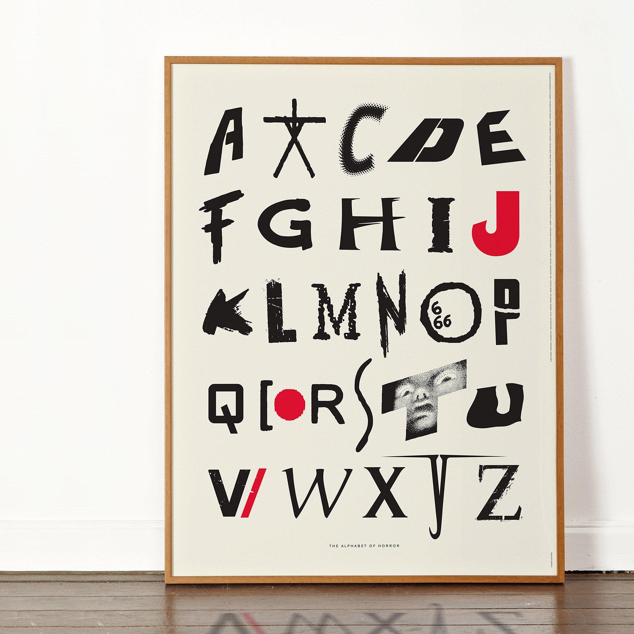 alphabet of horror films art print dorothy frame