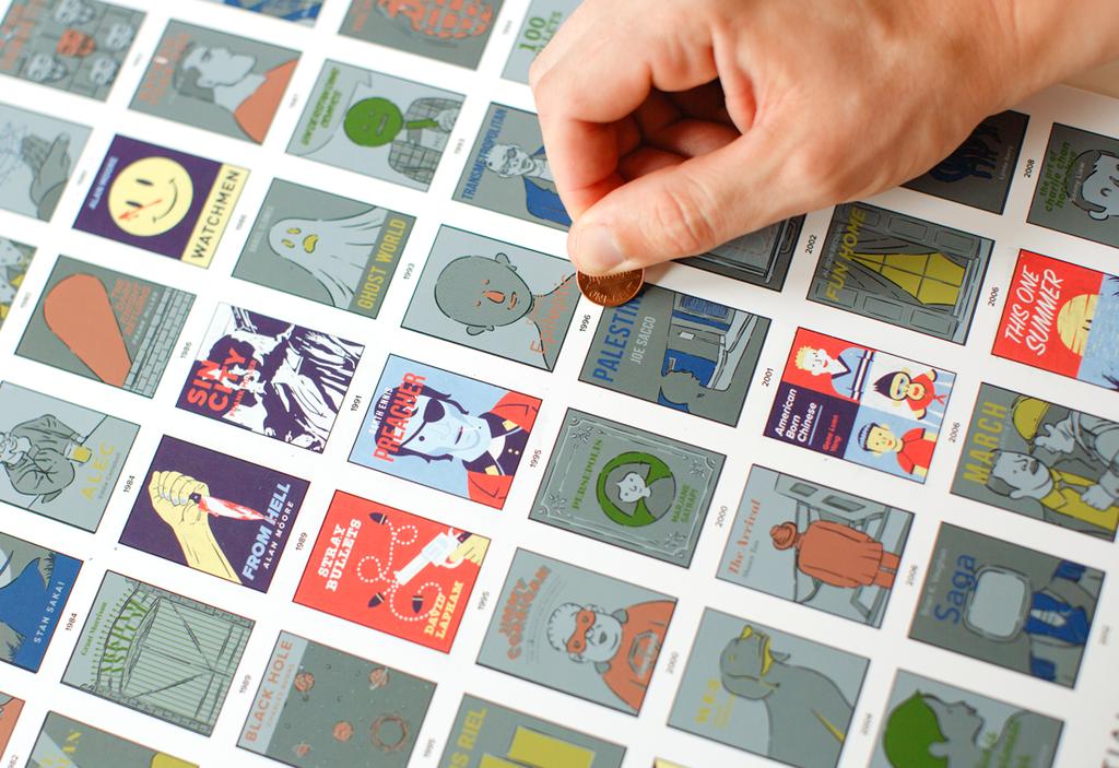 Il poster da grattare con i 100 graphic novel da non perdere