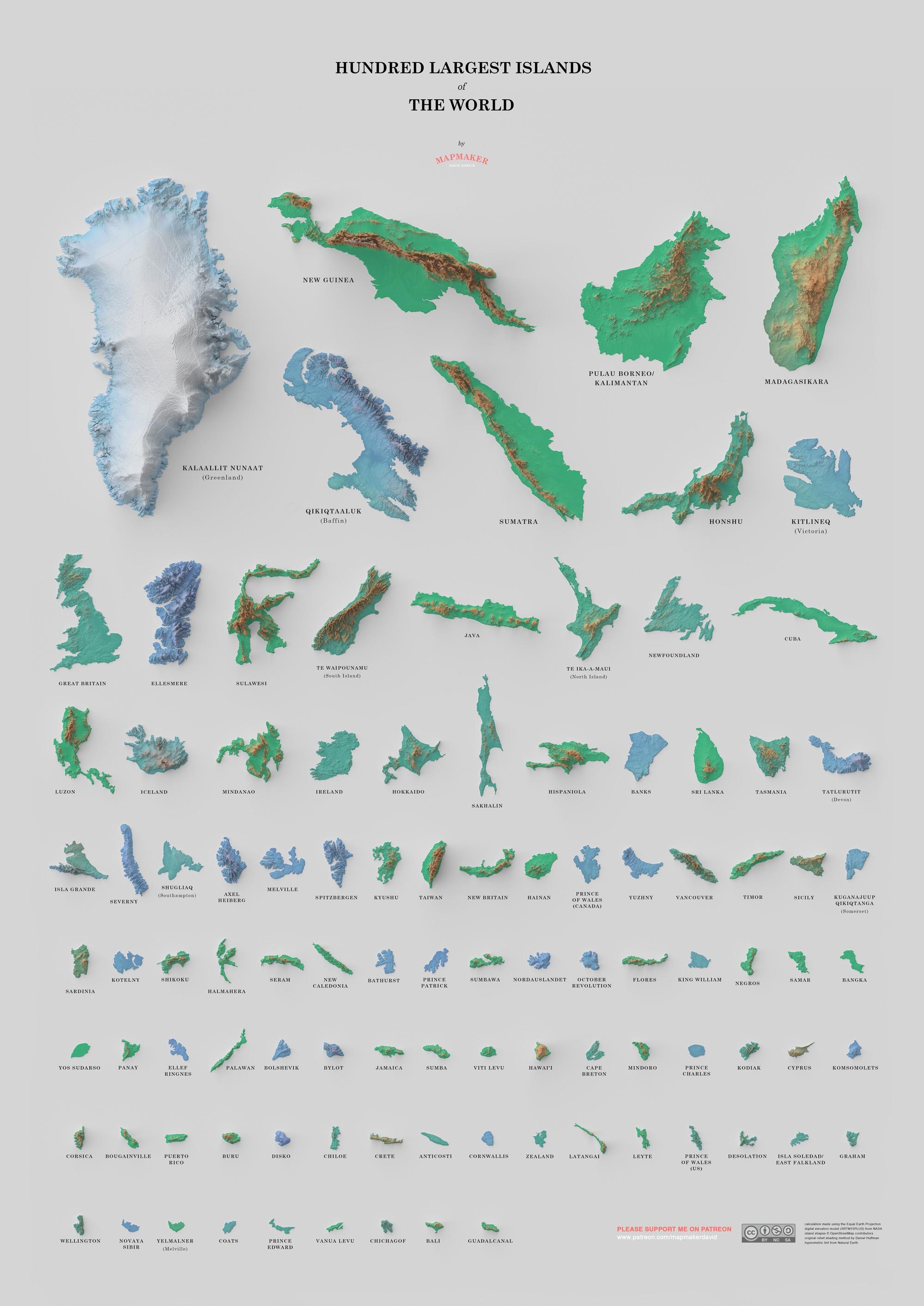Un poster dedicato alle 100 isole più grandi del mondo