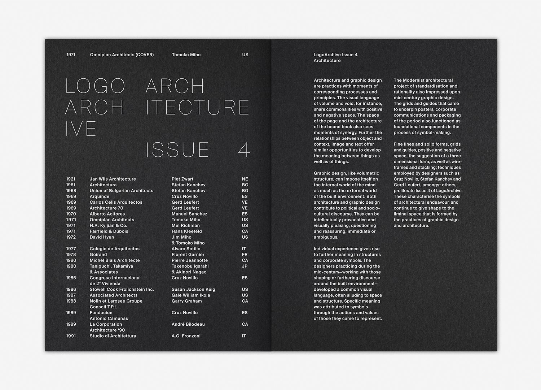 2 LogoArchive Issue 4 Architecture BPO Richard Baird tYPOGRAPHY eDITORIAL