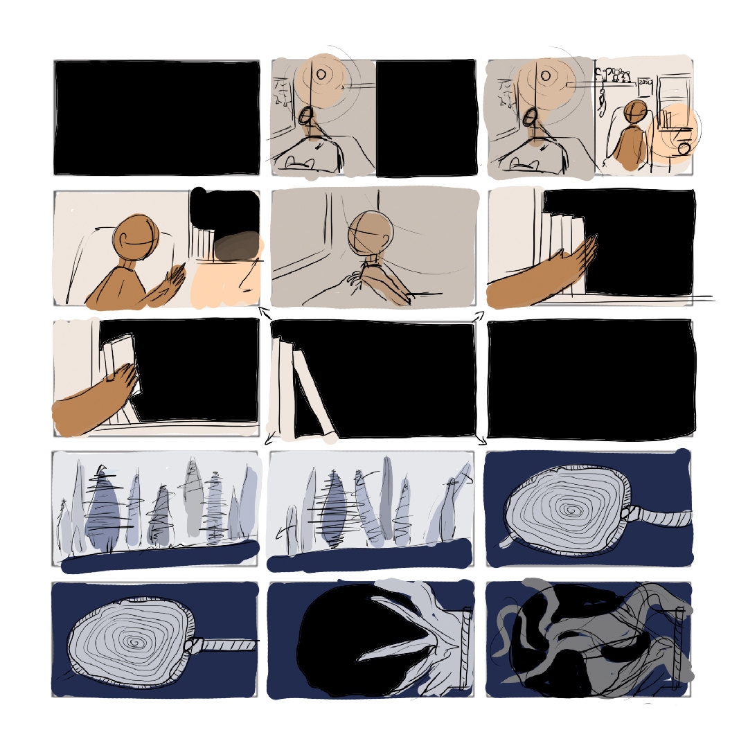 The Gigantic Change – Process – Initial Storyboard Rough Thumbnails