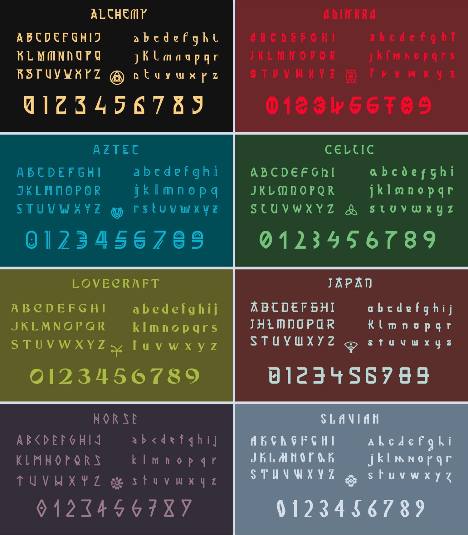 fontikon All fonts presentation