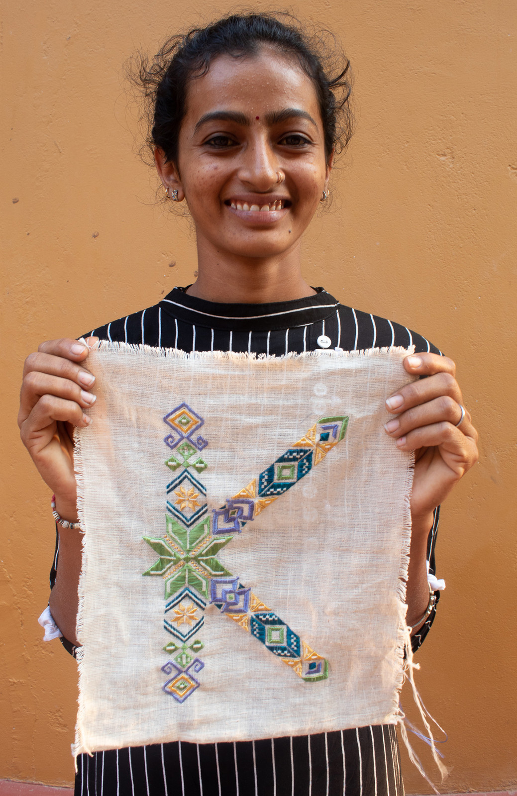the typecraft initiative Hetal ben with soof embroidery