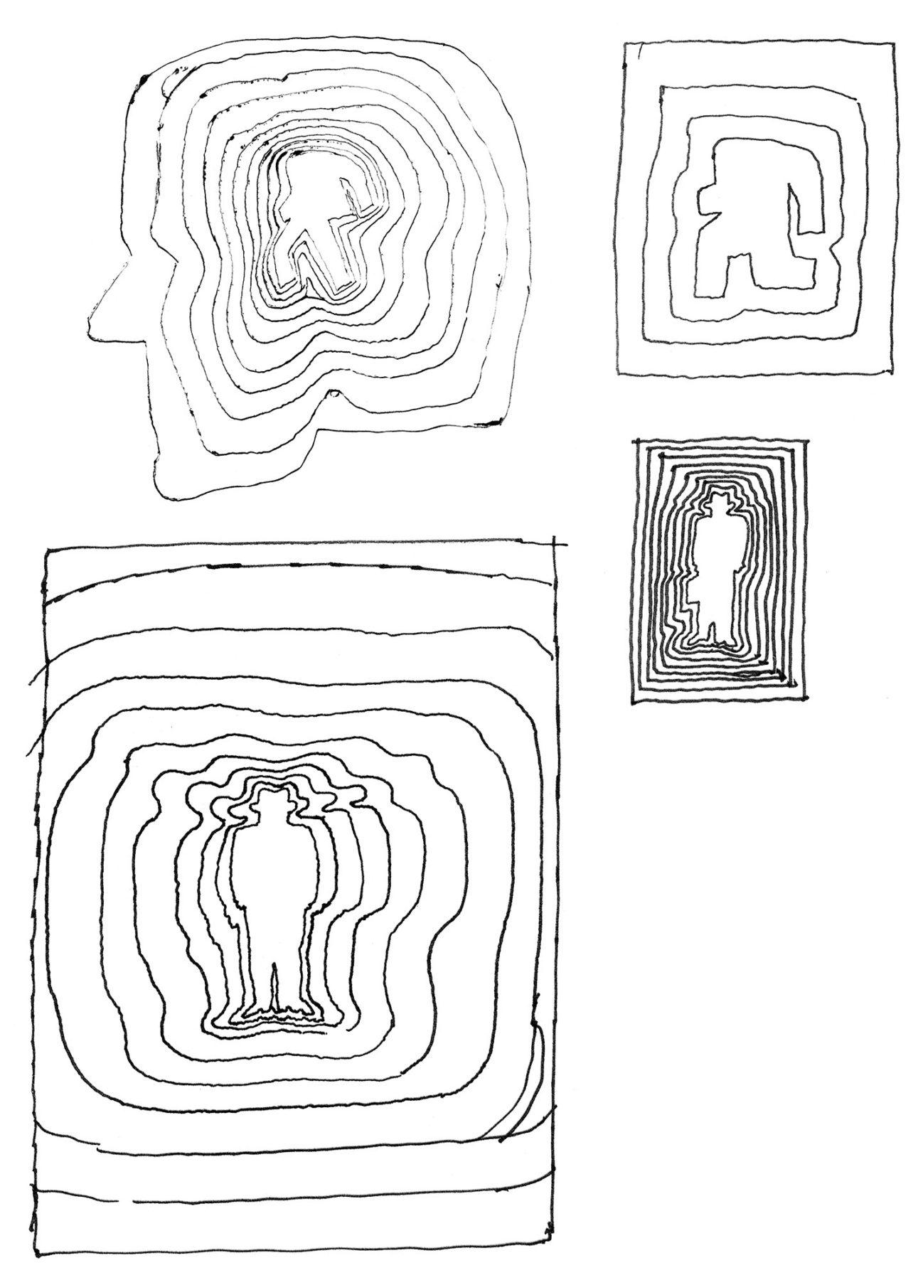 Hillmann 1965 Der Mann im weissen Anzug Skizzen zum Plakat